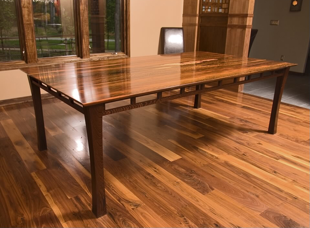 Brunswick dining table, shown in Macassar ebony