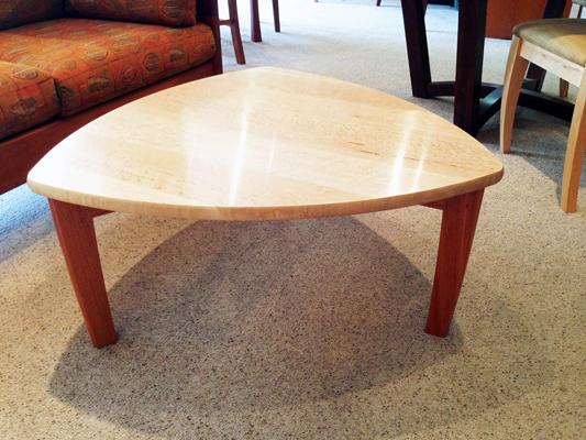 Finley coffee table, birdseye maple and Brazilian cherry, 34 x 34 x 16 inches, $1,240