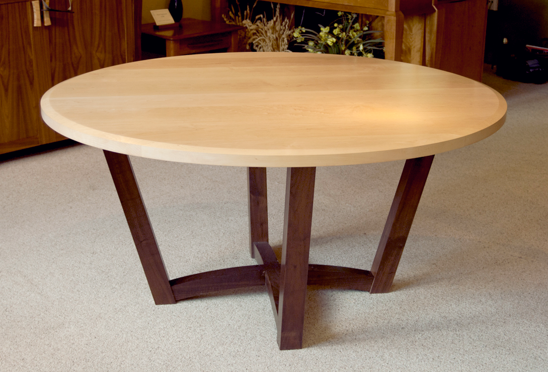 Pisgah dining table, walnut base and hard maple top, 60 inches across 29.5 inches tall, $3,180, on sale for $2,860