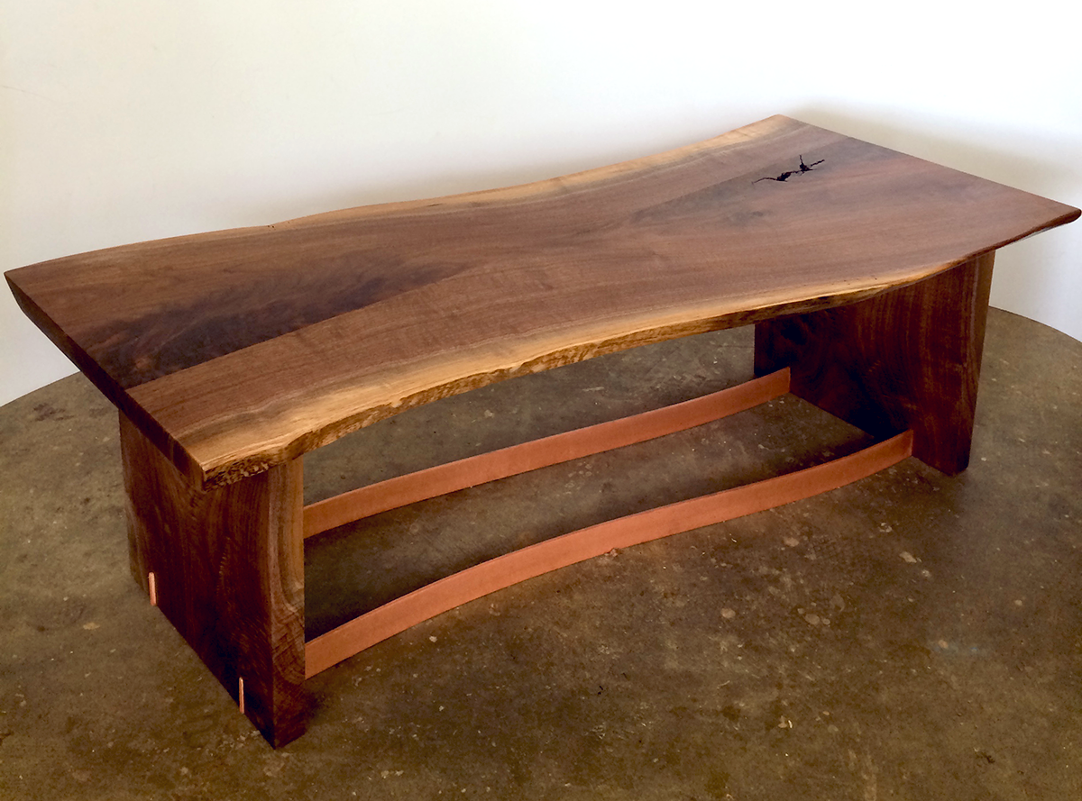 Swain, natural edge walnut and copper, 48 inches by 20 inches by 18 inches high, can serve as a bench or coffee table, $1,720